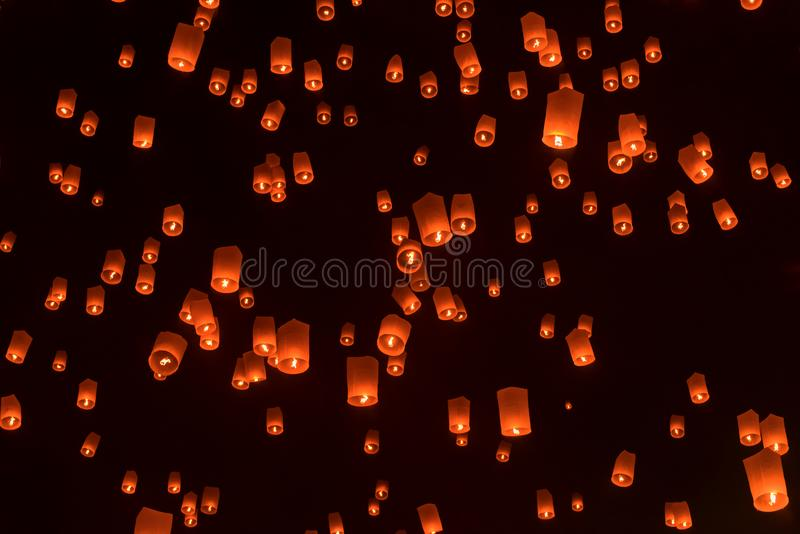 Floating lanterns or Balloon on the sky background. stock image