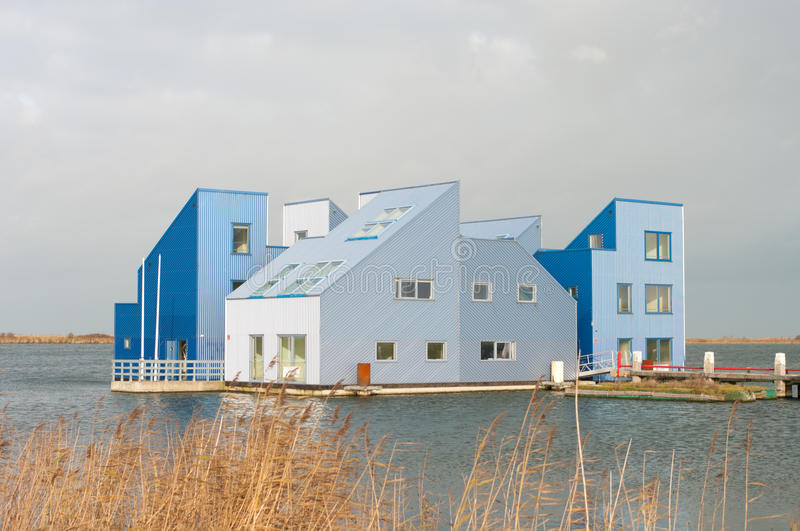Floating life. Modern floating offices and houses in Almere, Netherlands stock image