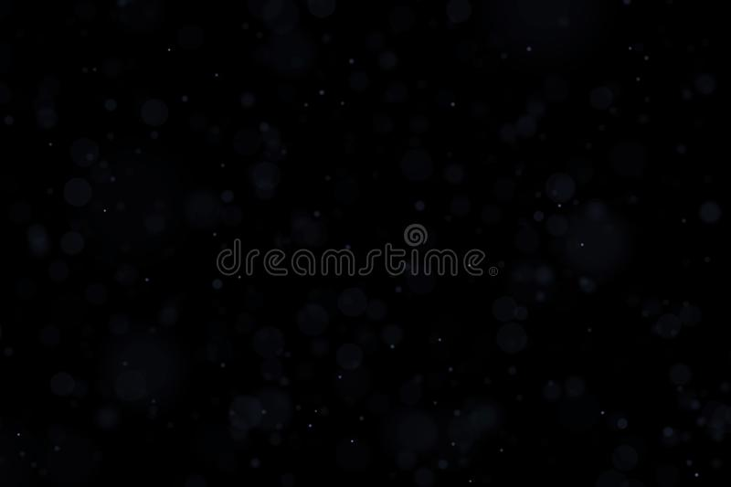 Floating light atmospheric particles isolated on black overlay. May be used on top of the layers in screen mode. Image vector illustration