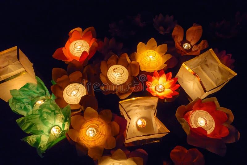 Download Floating Lotus Flower Paper Lanterns On Water Stock Photo