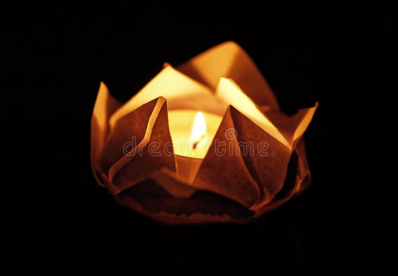 Floating lotus flower on water. Festival paper lanterns at night. Close up and shallow depth of field. Floating lotus flower on water. Festival paper lanterns royalty free stock photos