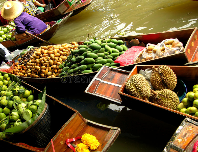 Download Floating Market stock photo. Image of oriental, fruits, banana - 45466
