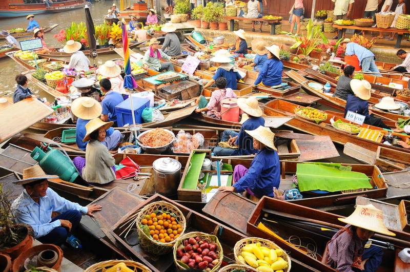 Floating market, Amphawa, Thailand. Boats loaded with fruits and vegetables in Amphawa Floating Market, Bangkok, Thailand. Amphawa Floating Market is one of the stock image