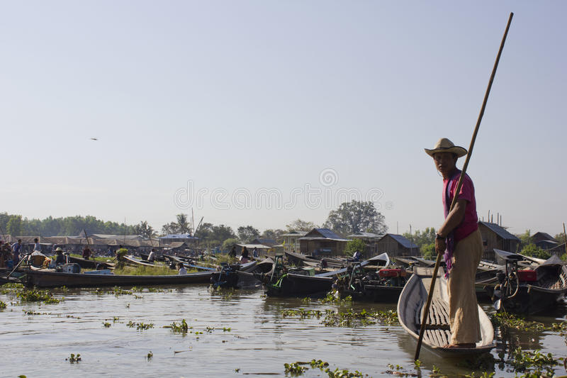 Floating market and boat souvenir seller in Inle Lake. stock photography