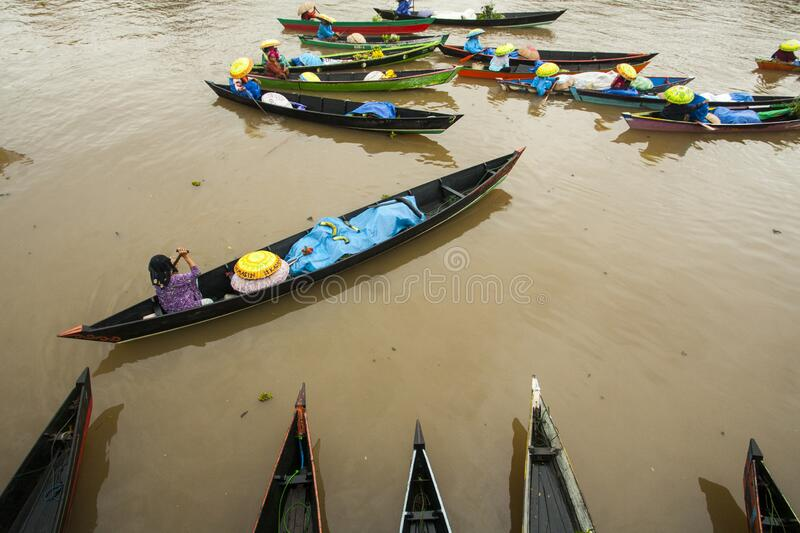 Floating market festival in Banjarmasin, Indonesia 2016 stock photography