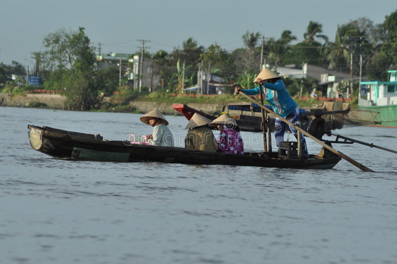 Floating market in Mekong delta, Vietnam royalty free stock photo