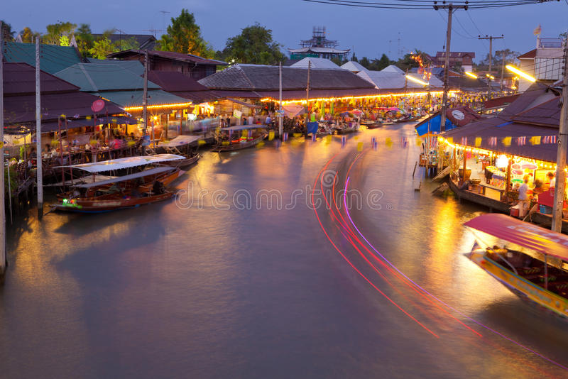 Floating market. At night in Thailand stock photos