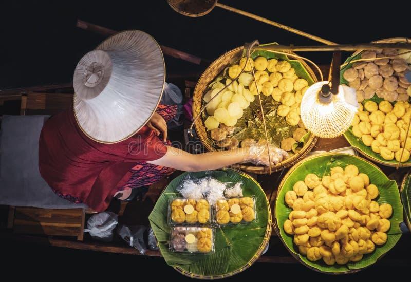 Floating Market Thai sweet dessert shop Street food Asia Travel Thailand. Tourism royalty free stock photos
