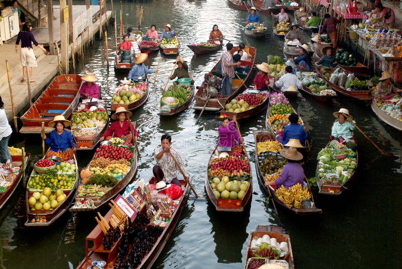 Floating market in Thailand. royalty free stock images