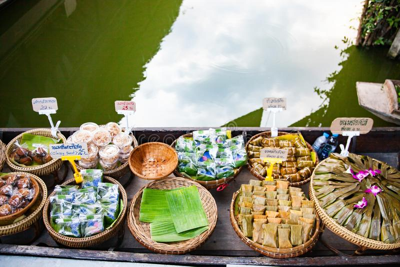 floating market - top view of boat full of fresh fruits on sale royalty free stock photography