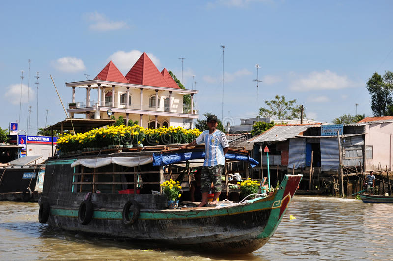 Floating market in Vietnam stock photography