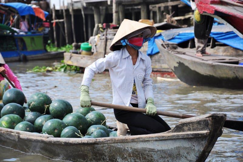 Floating market in Vietnam stock image