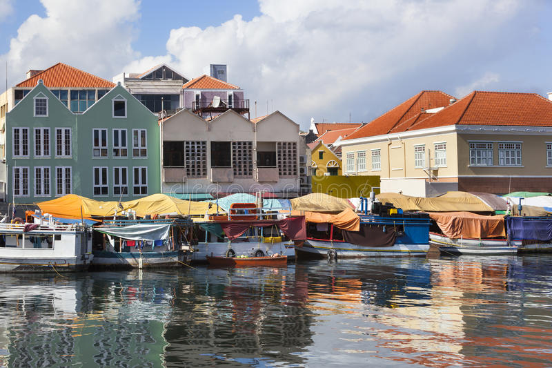 Floating market in Willemstad stock image