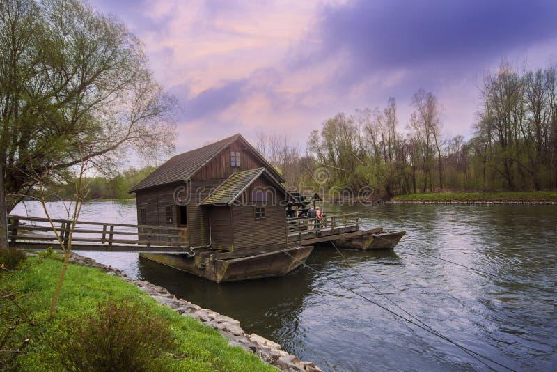 Floating mill on the Mura river. Prekmurje, Slovenia stock photography