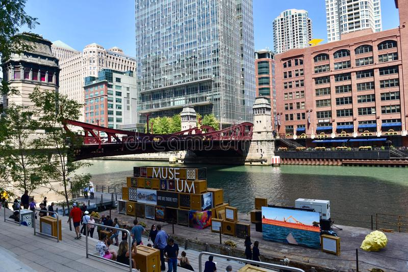 Floating Museum. This is a Summer picture of the. Floating Museum on the Chicago River located in Chicago, Illinois in Cook County. The Museum is a collaborative royalty free stock photography