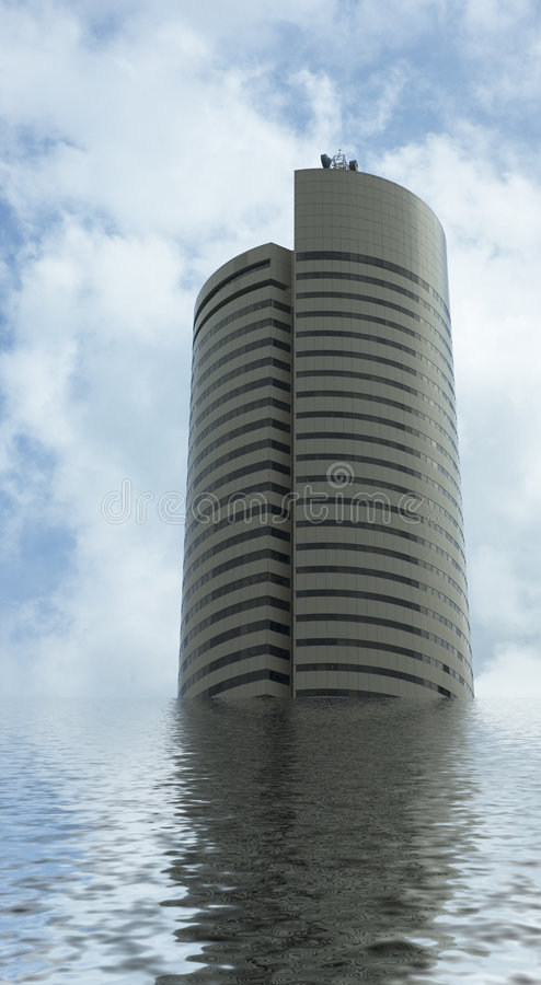 Floating office tower royalty free stock image