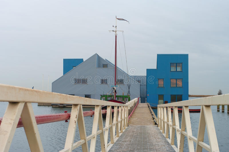 Floating offices. Modern floating offices in Almere, Netherlands stock photo