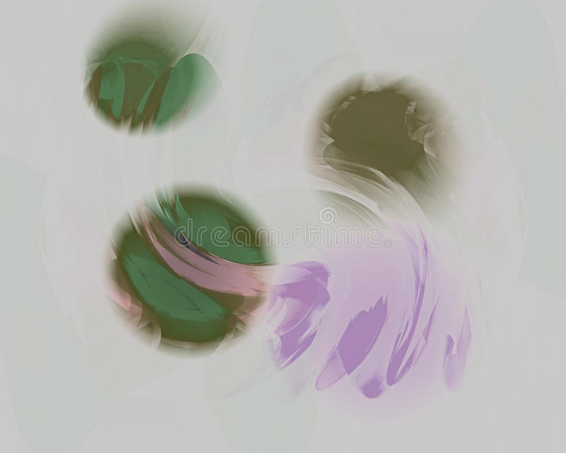 Floating Orbs in Green and Violet vector illustration