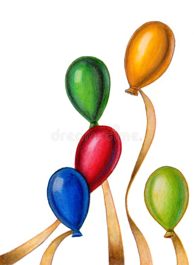 Floating party balloons. A group of colorful party balloons. Hand drawn illustration vector illustration