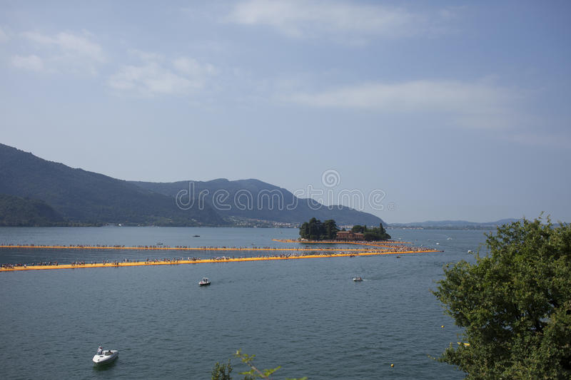Download Floating Piers, Lake Iseo Stock Photo - Image: 83716120