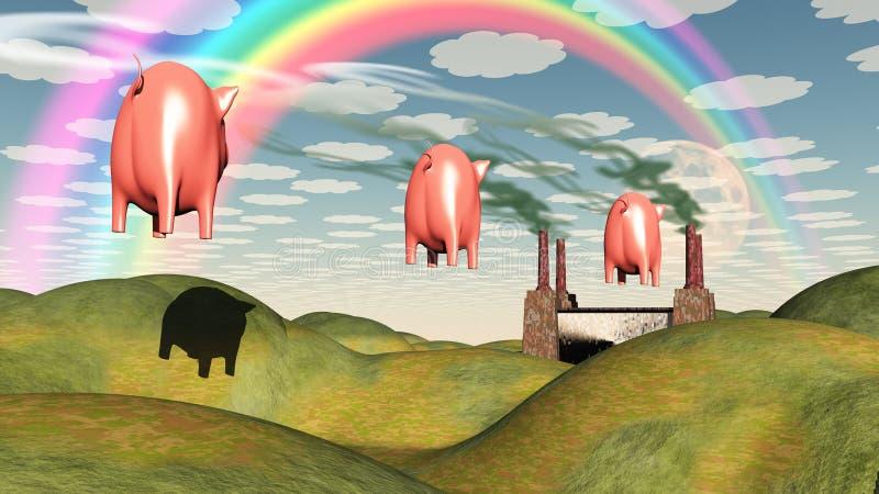 Floating Pig and Dollar Symbol Smoke Factory stock illustration