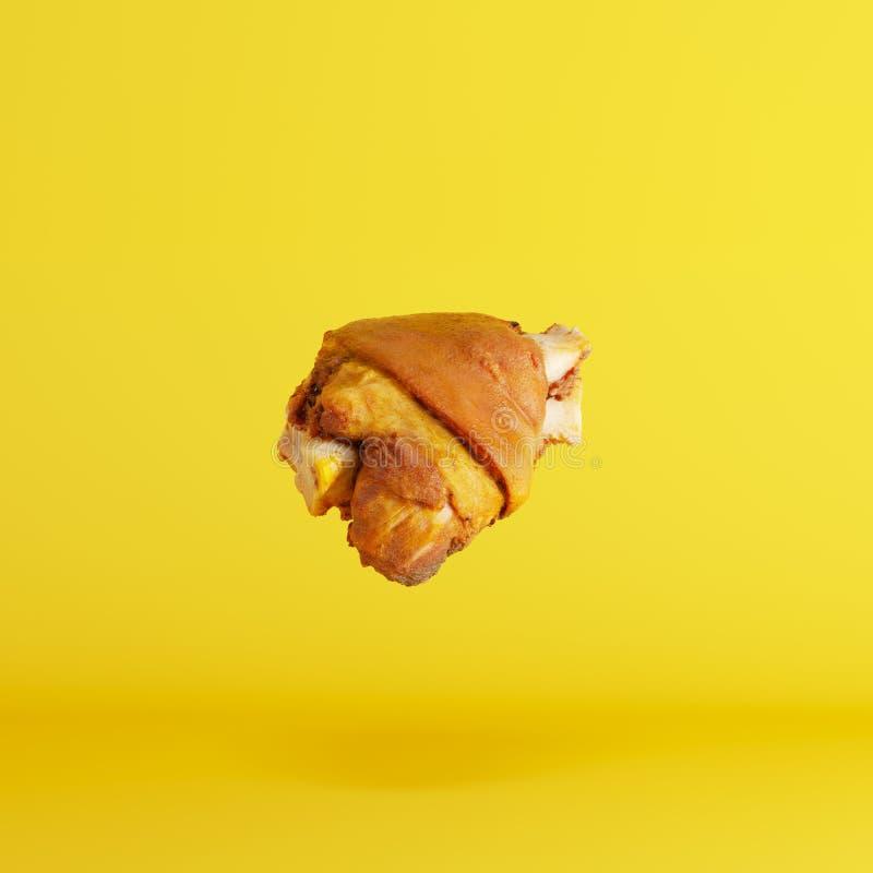 Floating pork leg on yellow background. Minimal food idea concept stock illustration