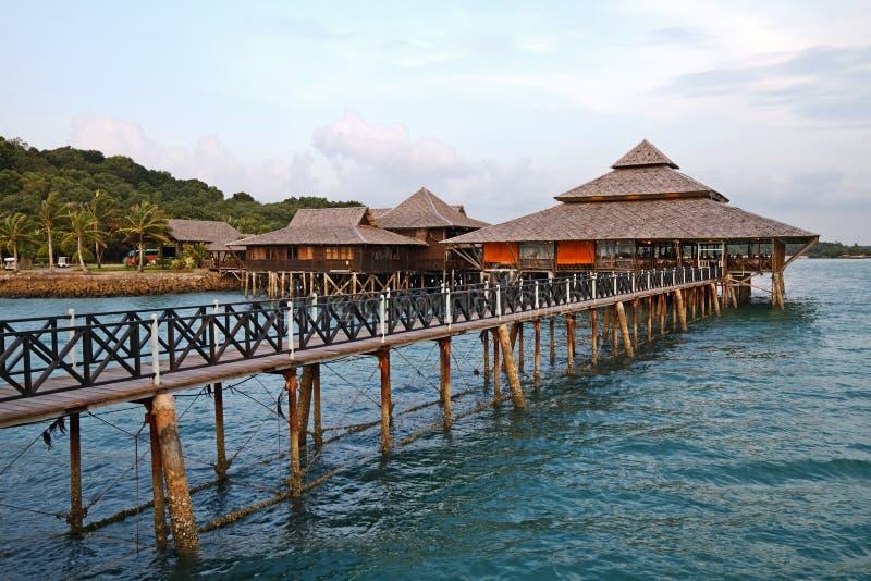 Floating Restaurant. At evening, Bintan, Indonesia stock image