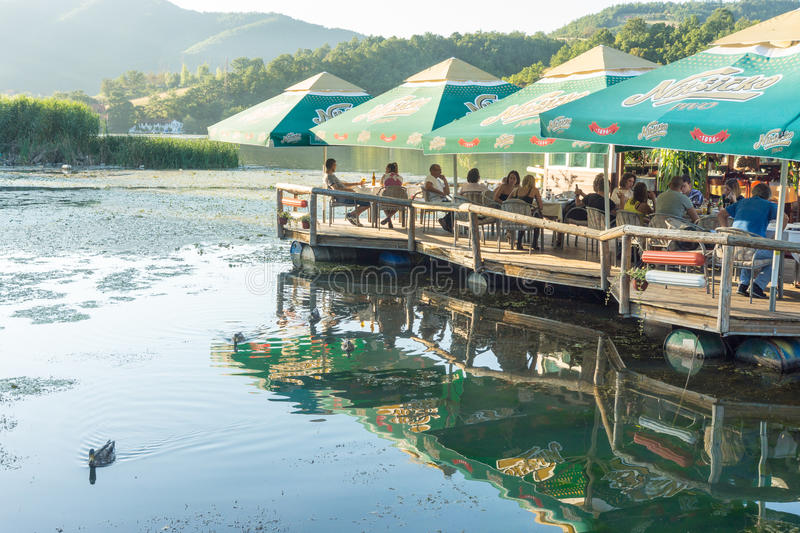 Floating restaurant on West Moravia, Serbia. The Republic of Serbia - a country in southeastern Europe, in the central part of the Balkan Peninsula and part of stock photo