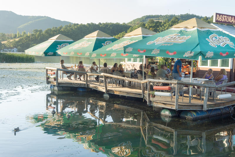 Floating restaurant on West Moravia in Serbia. The Republic of Serbia - a country in southeastern Europe, in the central part of the Balkan Peninsula and part of stock images