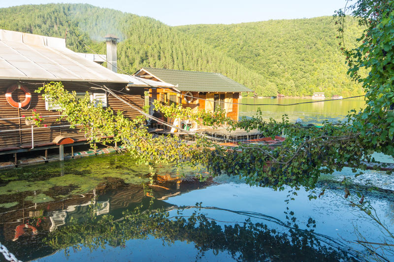 Floating restaurant on West Moravia, Serbia. The Republic of Serbia - a country in southeastern Europe, in the central part of the Balkan Peninsula and part of stock images