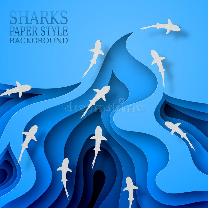 Floating sharks, paper style. Body wave, with shadows. Marine life, wildlife, predators went hunting. royalty free stock image
