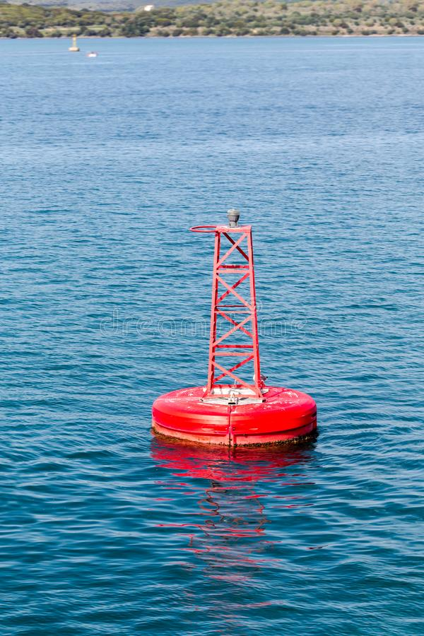 The floating sign of a buoy royalty free stock images