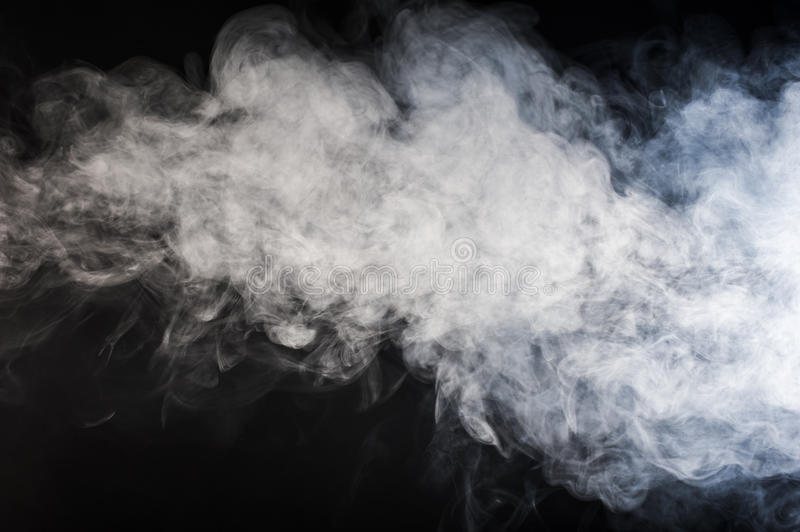 Floating smoke. Smoke floating on black background stock photos