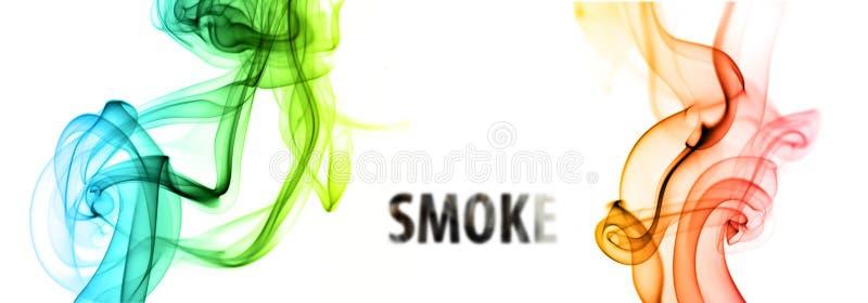 Floating smoke. Curves of smoke isolated on solid background stock illustration