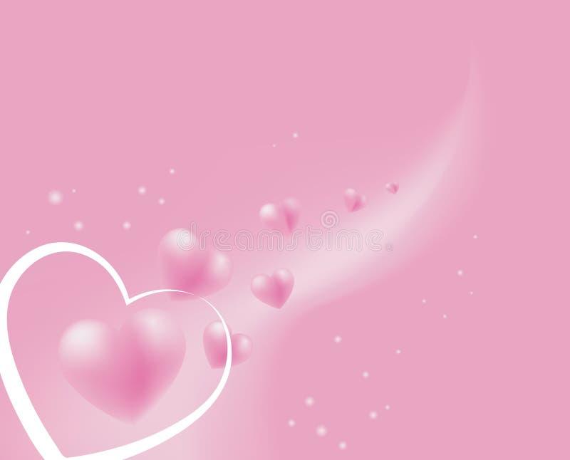 Floating soft pink hearts vector illustration
