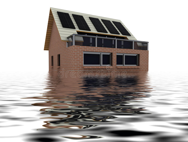 Download Floating Sustainable House With Solar Pannels Stock Illustration - Image: 26163983