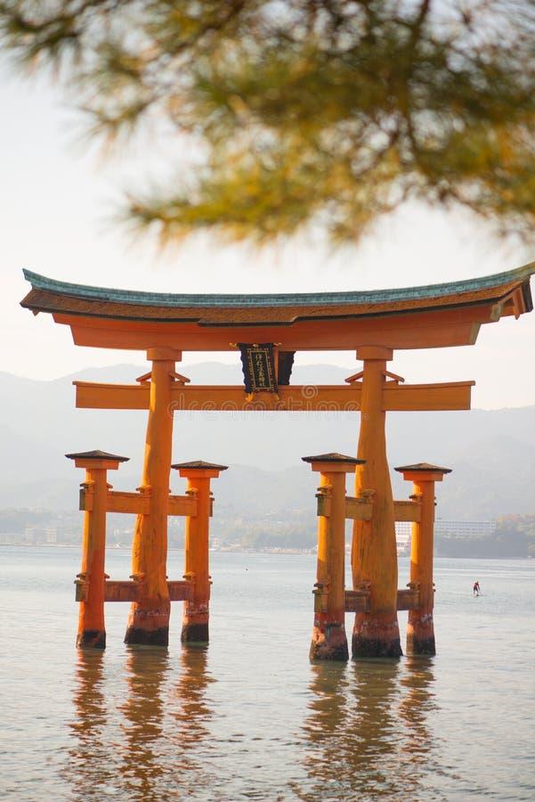 Floating torii gate of Itsukushima Shrine at Miyajima island. Hiroshima, Japan stock image