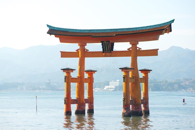 Floating torii gate of Itsukushima Shrine at Miyajima island. Hiroshima, Japan stock photo