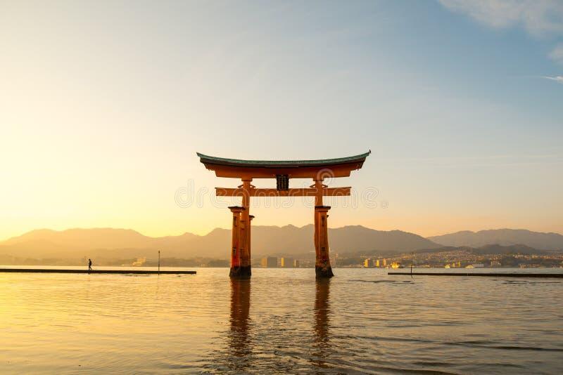 Floating torii gate of Itsukushima Shrine at Miyajima island. Hiroshima, Japan stock photos