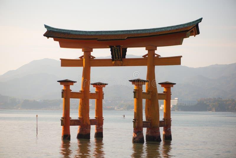 Floating torii gate of Itsukushima Shrine at Miyajima island. Hiroshima, Japan royalty free stock photo
