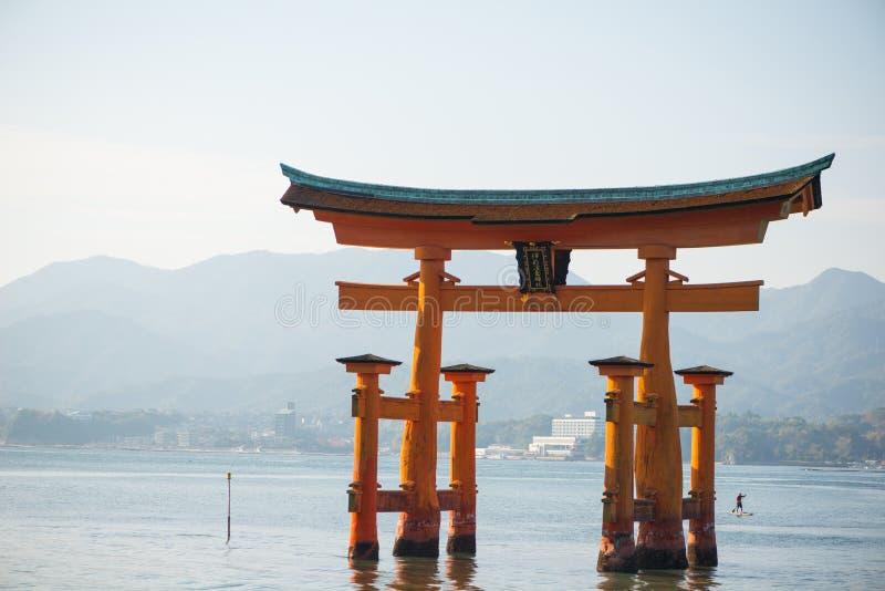 Floating torii gate of Itsukushima Shrine at Miyajima island. Hiroshima, Japan stock images