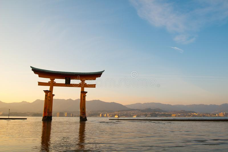 Floating torii gate of Itsukushima Shrine at Miyajima island. Hiroshima, Japan stock photography
