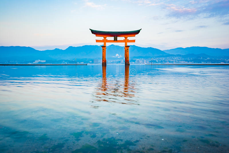 The Floating Torii gate in Miyajima, Japan.  stock images