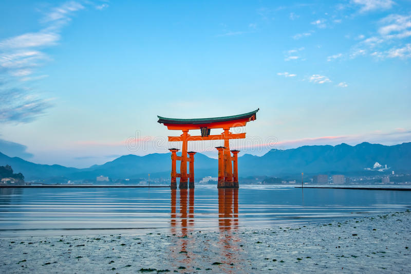 The Floating Torii gate in Miyajima, Japan.  stock photo