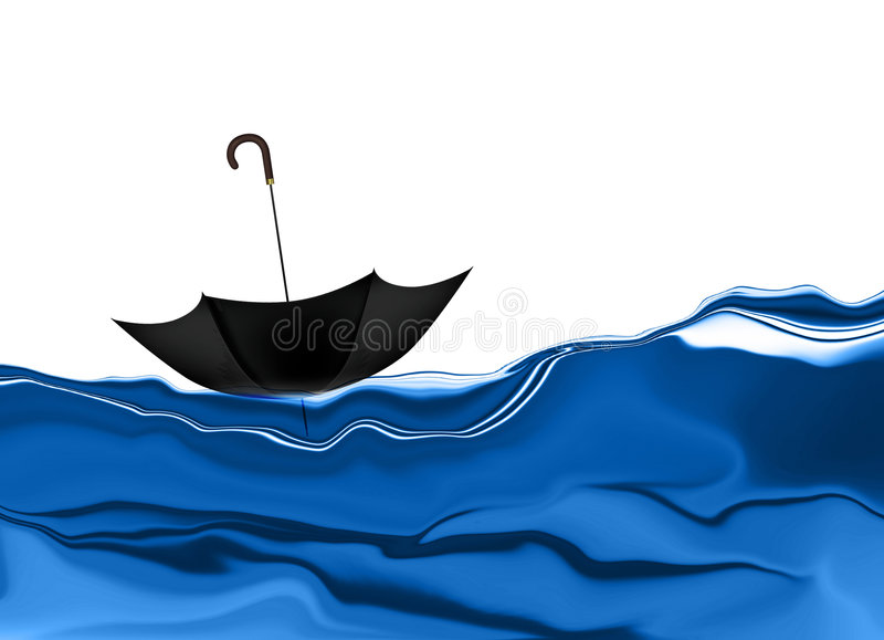 floating umbrella ελεύθερη απεικόνιση δικαιώματος
