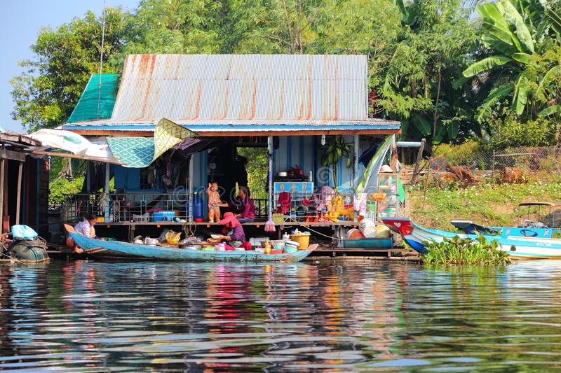 Floating village in Cambodia royalty free stock photography