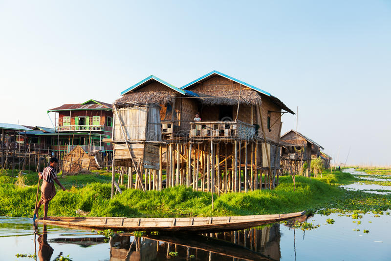 Floating village house in Inle Lake, Myanmar stock photos