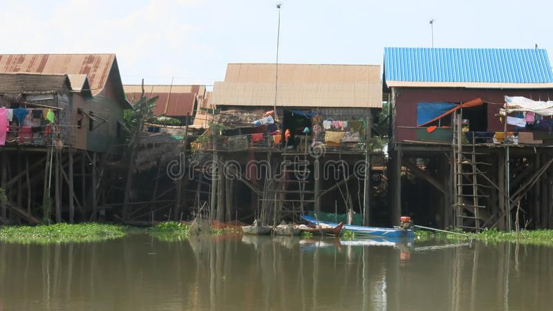 Floating Village in Tonle Sap Lake Cambodia. Floating Village Kompong Khleang in Tonle Sap Lake Cambodia stock images