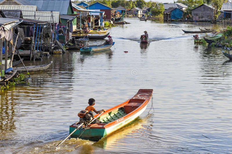 In the floating village on Tonle Sap lake, Cambodia royalty free stock images