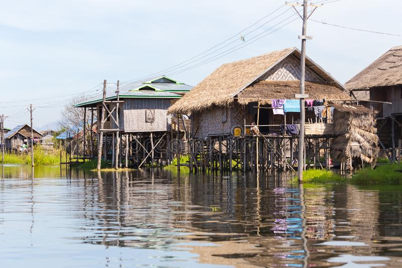 Floating villages of Inle Lake, Myanmar. Floating villages of Inle Lake, in Myanmar stock photos